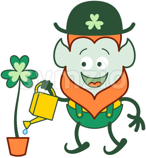 St Patrick's Day Leprechaun watering clover Stock Vector