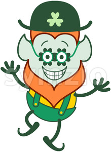 Cool St Paddy's Day Leprechaun wearing clover glasses Stock Vector