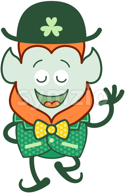 Elegant Leprechaun wearing a costume for St Paddy's Day Stock Vector