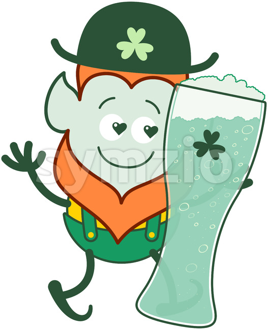 Leprechaun in love with St Patrick's Day beer Stock Vector
