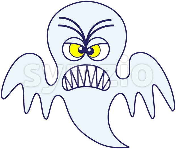 Halloween scary ghost furiously clenching teeth Stock Vector