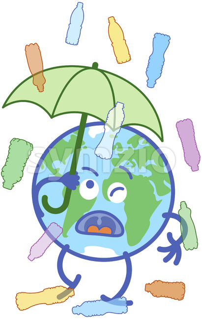 Earth protecting from plastic bottles rain with an umbrella Stock Vector