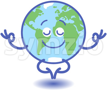 Nice cartoon Earth meditating and smiling Stock Vector