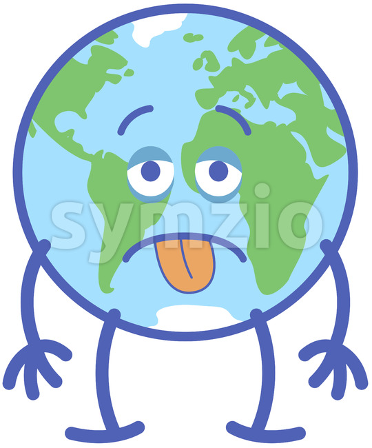Distressed Earth feeling exhausted, about to surrender Stock Vector