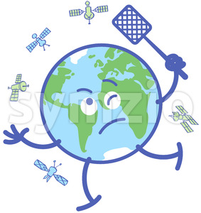 Desperate Earth chasing satellites with a fly swatter Stock Vector