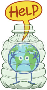 Planet Earth trapped inside a plastic bottle asking for help Stock Vector