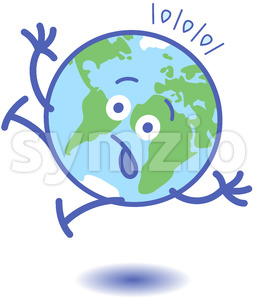 Scared Earth slipping and falling down Stock Vector