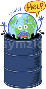 Earth in trouble drowning in an oil barrel Stock Vector