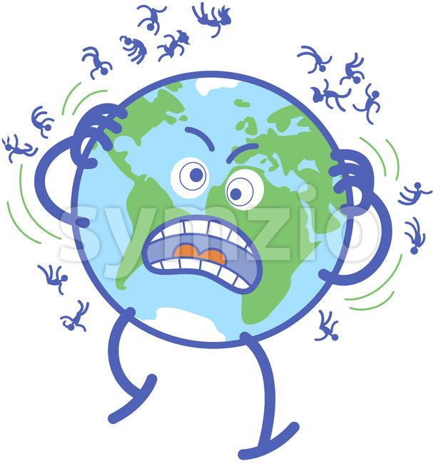 Desperate Earth scratching annoying humans off Stock Vector