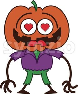 Halloween scarecrow madly falling in love Stock Vector
