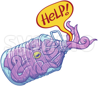 Purple octopus trapped in a plastic bottle asking for help Stock Vector