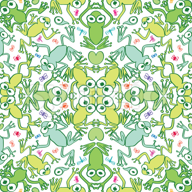 Green frogs in a decorative seamless pattern Stock Vector