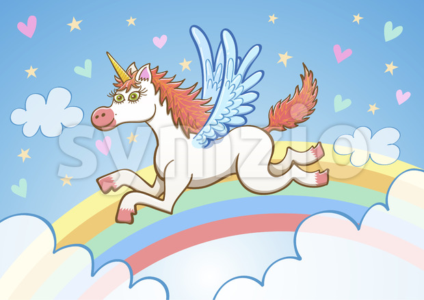 Beautiful white unicorn flying among clouds and rainbow Stock Vector