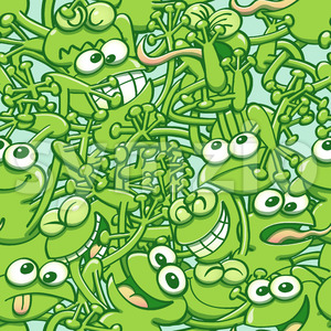 Funny green frogs tangled in a seamless pattern Stock Vector