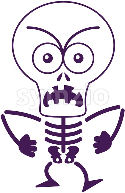 Halloween skeleton expressing anger and groaning Stock Vector