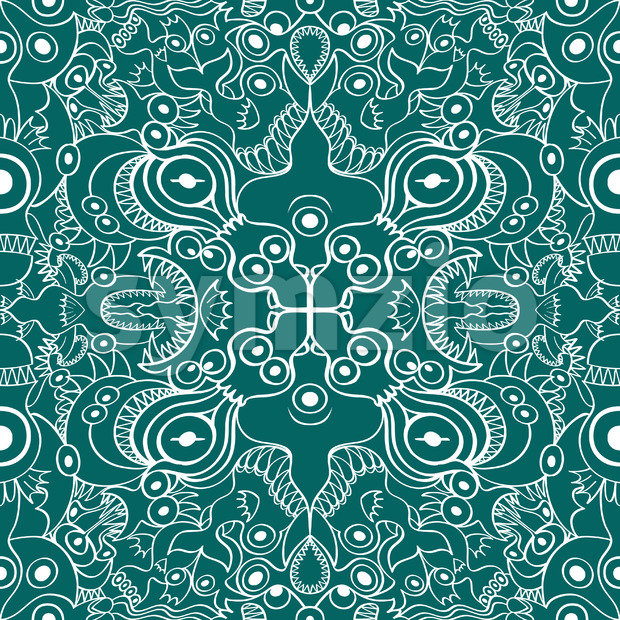 Sea creatures posing in a weird symmetrical pattern Stock Vector