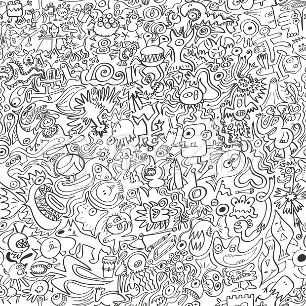 Weird doodles squeezed into a terrific seamless design!