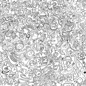 A bunch of doodles squeezed into a pattern Stock Vector