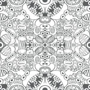 Scary creatures in a surface pattern design Stock Vector