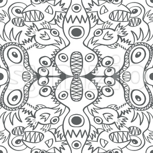 A good bunch of monstrous creatures cramped in a pattern Stock Vector