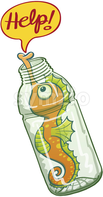 Seahorse trapped in a plastic bottle asking for help Stock Vector