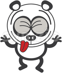 Cool panda bear having fun making funny faces Stock Vector