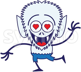 Halloween werewolf madly falling in love Stock Vector