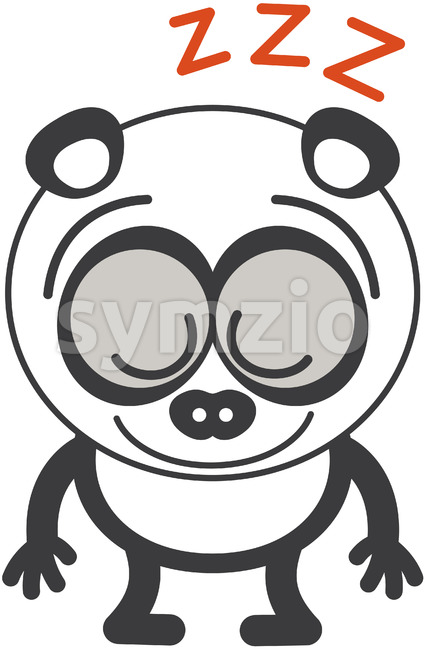 Sweet panda bear sleeping placidly while standing up Stock Vector