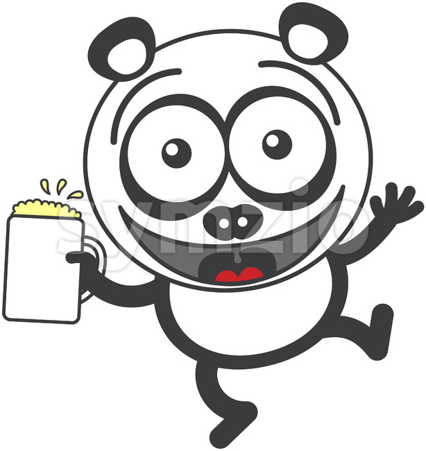 Cool panda bear celebrating with a mug of beer Stock Vector