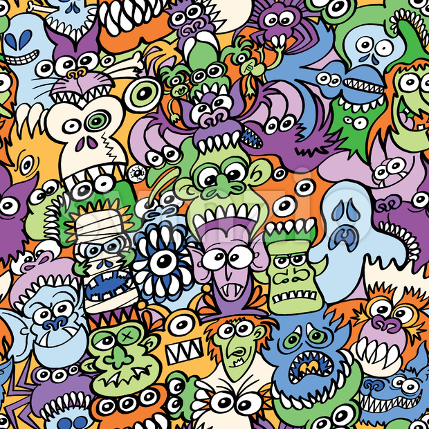 Halloween creatures get crazy in this pattern design Stock Vector