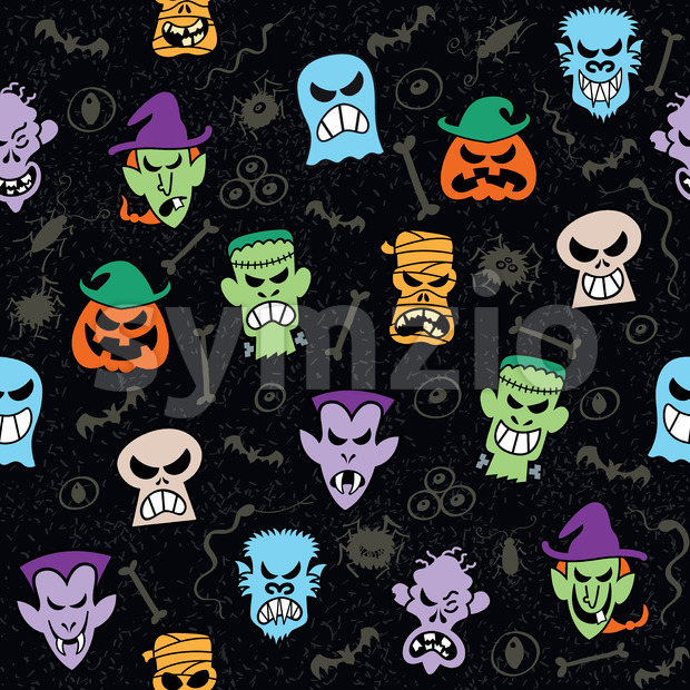 Pattern design showing mischievous Halloween characters Stock Vector