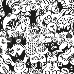 Crazy doodles in a funny seamless pattern design Stock Vector
