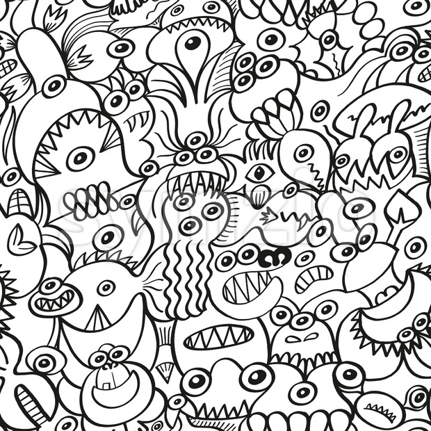 Messy doodles in a crazy surface pattern design Stock Vector