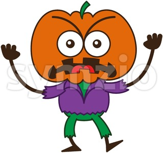 Halloween scarecrow feeling furious and grumbling Stock Vector