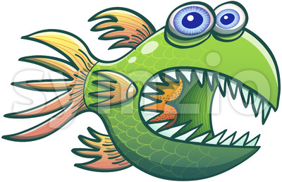 Wary green fish opening its mouth and showing sharp teeth Stock Vector