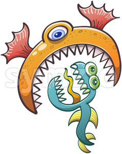 One-eyed sea monster gobbling scared ugly creature Stock Vector