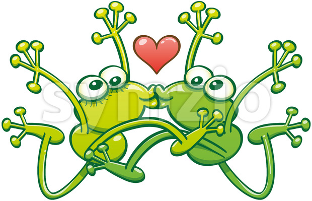 Frogs kissing passionately in the middle of a big jump Stock Vector