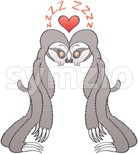 This is the sleepy love story of a couple of sweet gray sloths Stock Vector