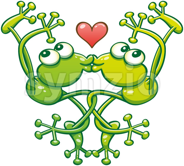 Green frogs kissing and falling in love Stock Vector