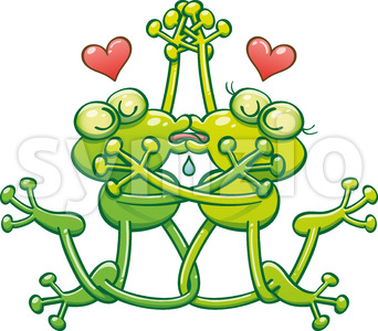 Couple of green frogs in love enjoying a French kiss Stock Vector