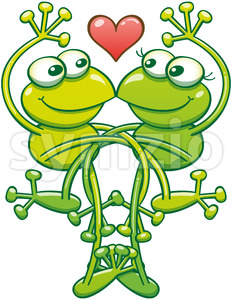 Intertwined frogs flirting and madly falling in love Stock Vector