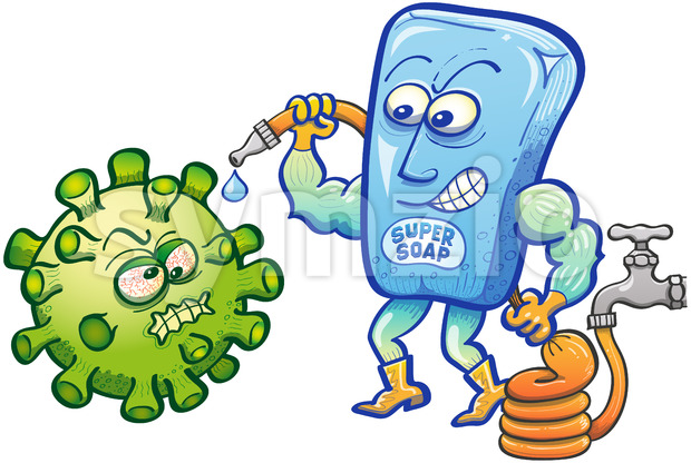 Soap superhero facing Coronavirus with a hose full of water Stock Vector