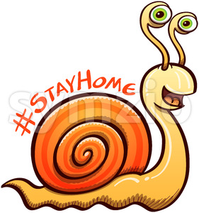 Cool snail invitation to keep safe by staying at home Stock Vector