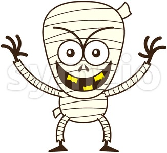 Halloween mummy behaving mischievously Stock Vector
