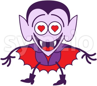 Halloween Dracula madly falling in love Stock Photo