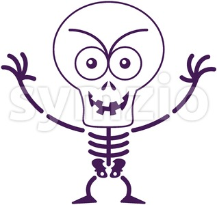 Halloween skeleton acting mischievously Stock Vector