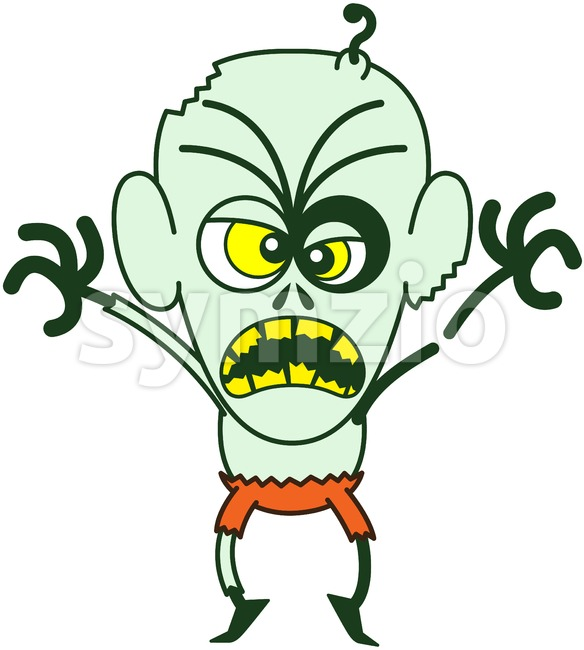 Halloween zombie showing scary mood Stock Vector