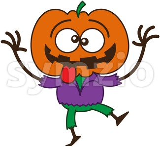 Halloween scarecrow making funny faces Stock Vector