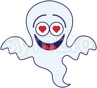 Halloween ghost madly falling in love Stock Vector