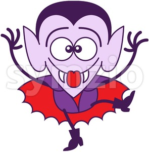 Halloween Dracula making funny faces Stock Vector